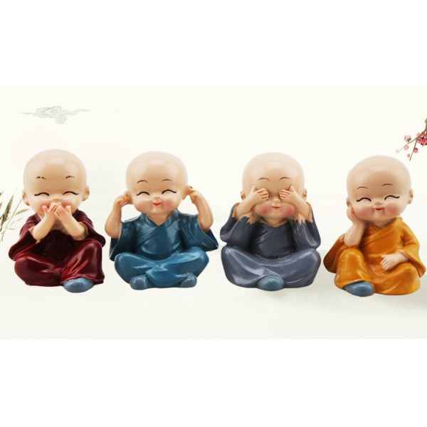 4PCS/Set Kung Fu Four Little Monks Car Styling Cute Doll Decoration Buddha Ornament