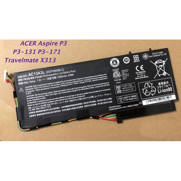 40Wh AC13A3L Replacement Battery for Acer Aspire P3-131 P3-171 X313-E X313-M