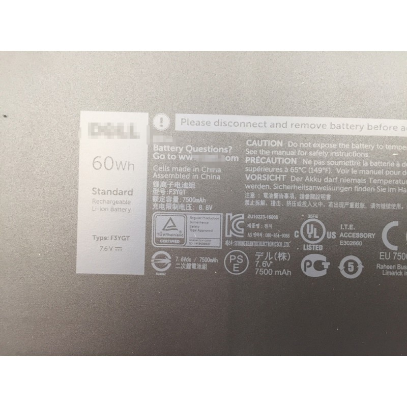 Dell Laitutde 7280 7380 7480 2X39G DM6WC F3YGT 60Wh 7 6V